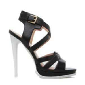 Black and White Heeled Sandals